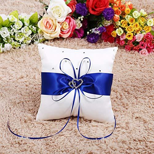 Fdit Cuscino per Anelli di Forma Quadrata Cuscino per FEDI Nuziali, Cuscino per FEDI, Cuscino Elegante e Delicato Cuscino per FEDI Nuziali Bowknot Squisita fattura(Blue)