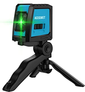 Laser Level, Acegmet Green Self leveling Laser Level Tool with Folding Tripod, Magnetic Base and Rechargeable Batteries with USB Charging Port Cross Line Laser Level with Horizontal and Vertical Line