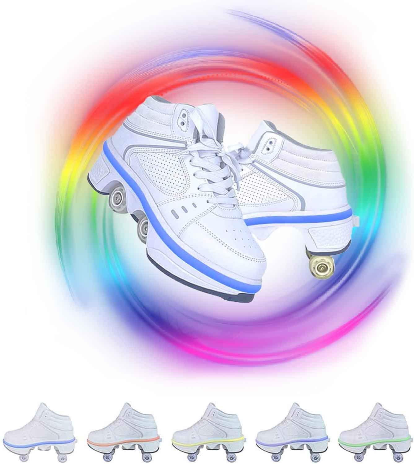 Fashiums Double-Row Deform Wheel Deformation Automatic Walking Shoes Invisible Roller Skate 2 in 1 Removable Pulley Skates Skating