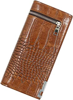 BeniNew long wallet crocodile textile leisure large capacity two fold men's soft clamp-brown