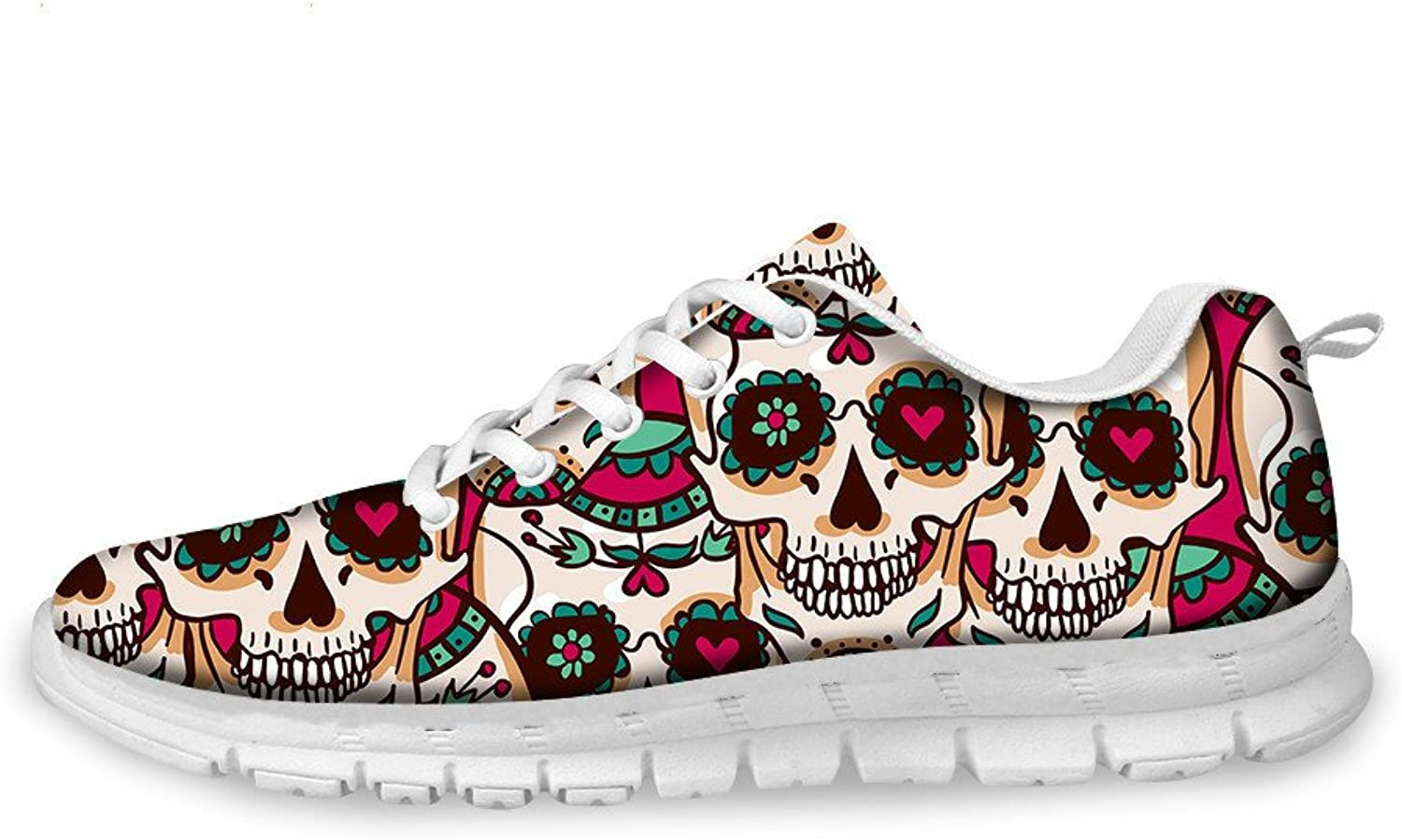 Youngerbaby Lightweight Sneakers for Women Skull Printed Walking shoes Outdoor