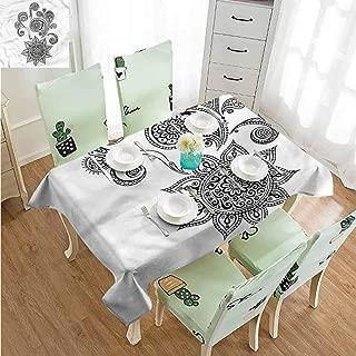 ZWARRT Wrinkle Free Henna,Paisley Tattoo Design W60 xL120,Rectangle Tablecloth