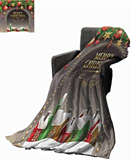 Merry Christmas Decoration Reversible Blanket Christmas Gold Classic Rustic Design Season Greetings Golden Christmas Letters Village Ornament Cozy for Couch Sofa Bed Beach Travel 54