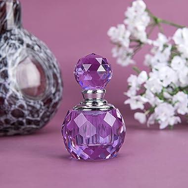 H&D Lavender Vintage Crystal Empty Decor Mini Refillable Perfume Bottle