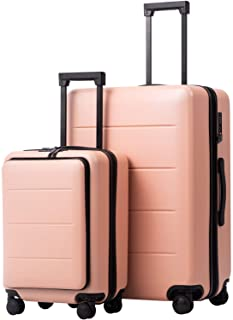 COOLIFE Luggage Suitcase Piece Set Carry On ABS+PC Spinner Trolley with pocket Compartmnet Weekend Bag (Sakura pink, 2-pie...