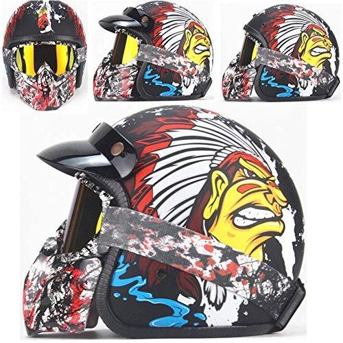 ZHXH Retro Harley Motorradhelm Helm mit offenem Gesicht 3/4 Cruiser DOT-zertifizierter Motorradabziehhelm für Männer und Frauen und Sonnenblende Fahrrad-Straßenrollerhelm (optionale Farbe)