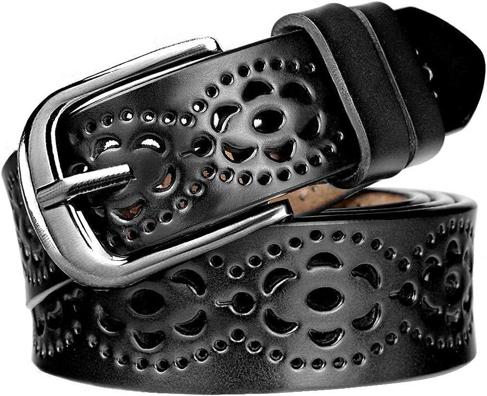 HBF Cinturón Mujer Retro Flor Patrón Cinturon Piel Mujer Hueco Cinturon De Mujer Poder Cortar Longitud