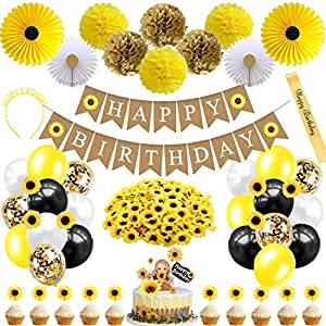 Sunflower Birthday Party Decorations Supplies 95Pcs – Happy Birthday Banner Paper Pom Poms Flower Tissue Paper Fans Headband Sash Balloons Artificial Sunflower Heads Cupcake Toppers Cake Topper Birthday Decorations for Girls Women Kids Babies Yellow Party Decor