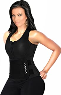 YIANNA Neoprene Sauna Suit - Waist Training Vest - Sauna Tank Top Vest with Adjustable Waist Trimmer/Shaper Trainer Belt for Weight Loss, AU-YA8012-Black-4XL