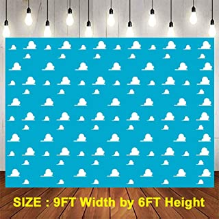 Blue Toy Story Themed Backdrops for Photography, 9x6FT, White Clouds Party Backgrounds, for Children Kids Birthday Themed Party, Photo Booth Props LUGE081