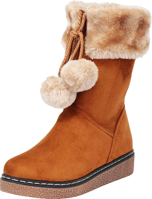 Cambridge Select Women's Faux Fur Pom Pom Mid-Calf Boot