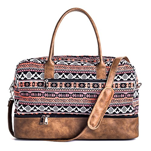 MyMealivos Canvas Weekender Bag, Overnight Travel Carry On Duffel Tote with Shoe Pouch (multi)