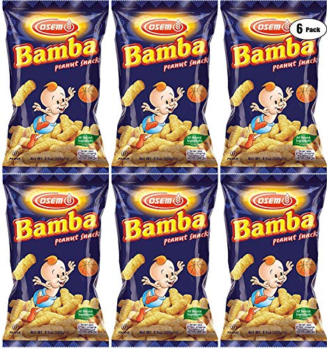 Bamba Peanut Snacks for Babies - All Natural Baby Peanut Puffs 3.5 Ounce Large Bag (Pack of 6 x 3.5oz Bags) - Peanut Butter Puffs made with 50% peanuts