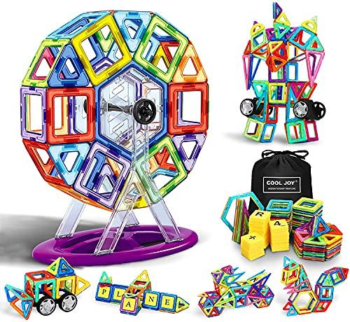 COOLJOY Blocchi Magnetici, 117 Pezzi Magnetici Blocchi Costruzioni Giocattolo, Giocattoli Educativi per Bambini Kit, Giocattolo Creativo per i Bambini Oltre 3 Anni Ferris Wheel/Car/Robot