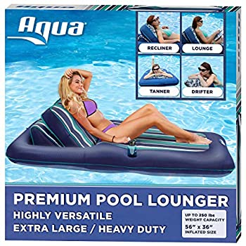 """Aqua Premium Convertible Ultimate Pool Lounger Inflatable Pool Float Heavy Duty X-Large 74"""" – 90"""" Navy/Green/White Stripe"""