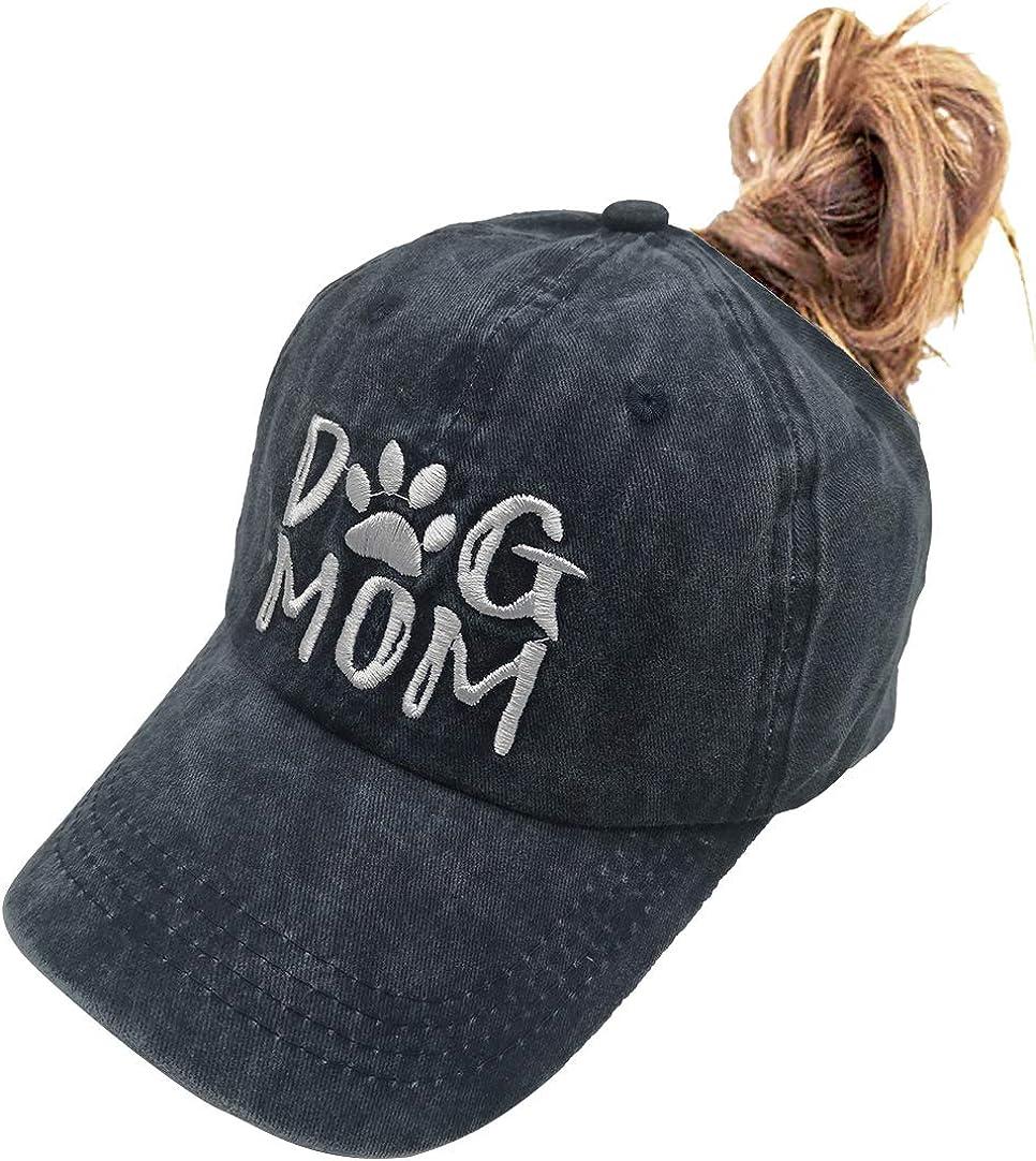 OASCUVER Denim Fabric Adjustable Dog Mom Hat Fashion Distressed Baseball Cap for Women
