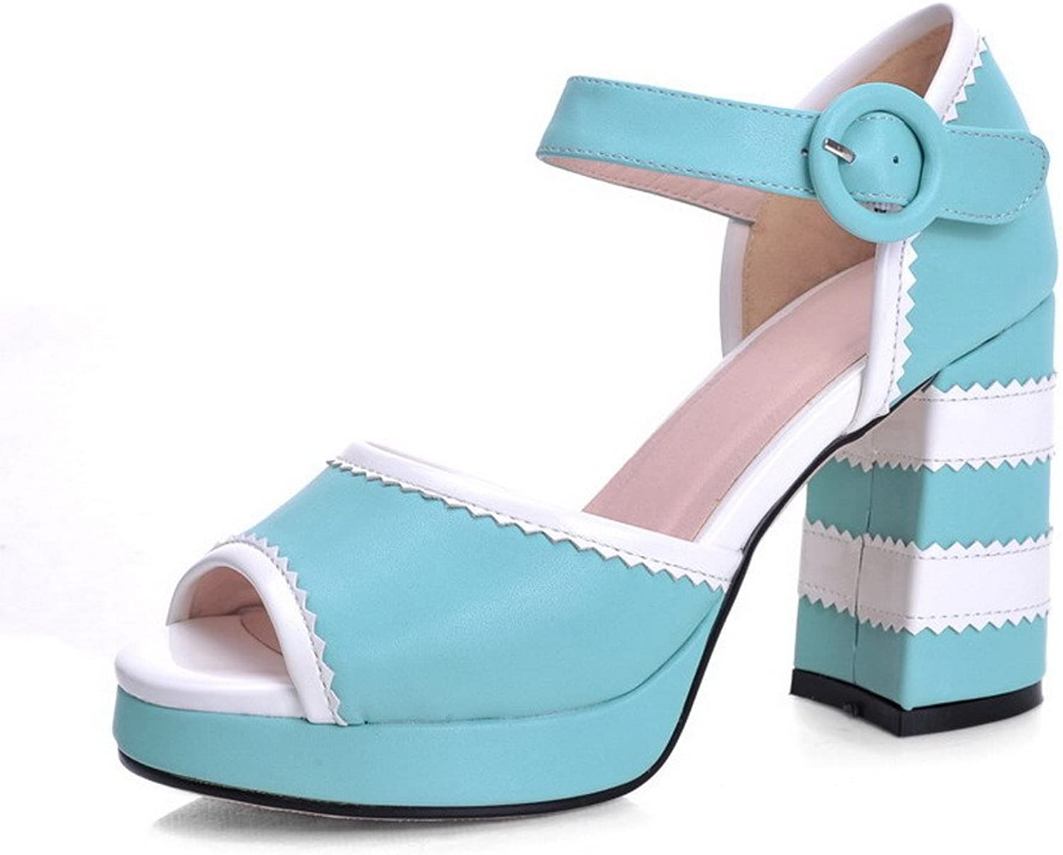 WeiPoot Women Peep Toe High Heel PU Soft Material Sandals with Assorted colors Sandals, bluee, 7.5 B(M) US