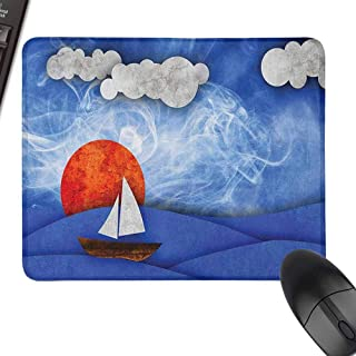 Small Mouse Pad Nautical Sailing Ship with Sun and Clouds in Mist Water with Waves Funky Artwork Easy to Operate,15.7