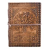 Tree of Life Journal To Write in - 5x7 Leather Writing Journal - Notebook Sketchbook Notepad Personal Memo - Eco-friendly Tree Free - Embossed Journal for Men Women Writers - Christmas Gift