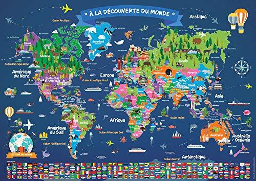 Poster Carte du Monde pour Enfant en Français | Grand Planisphère Mural Illustré | Pays, Drapeaux, Animaux, Monuments | Décoration Murale Chambre Enfant | 5 ans + | 84,1 x 59,4 cm