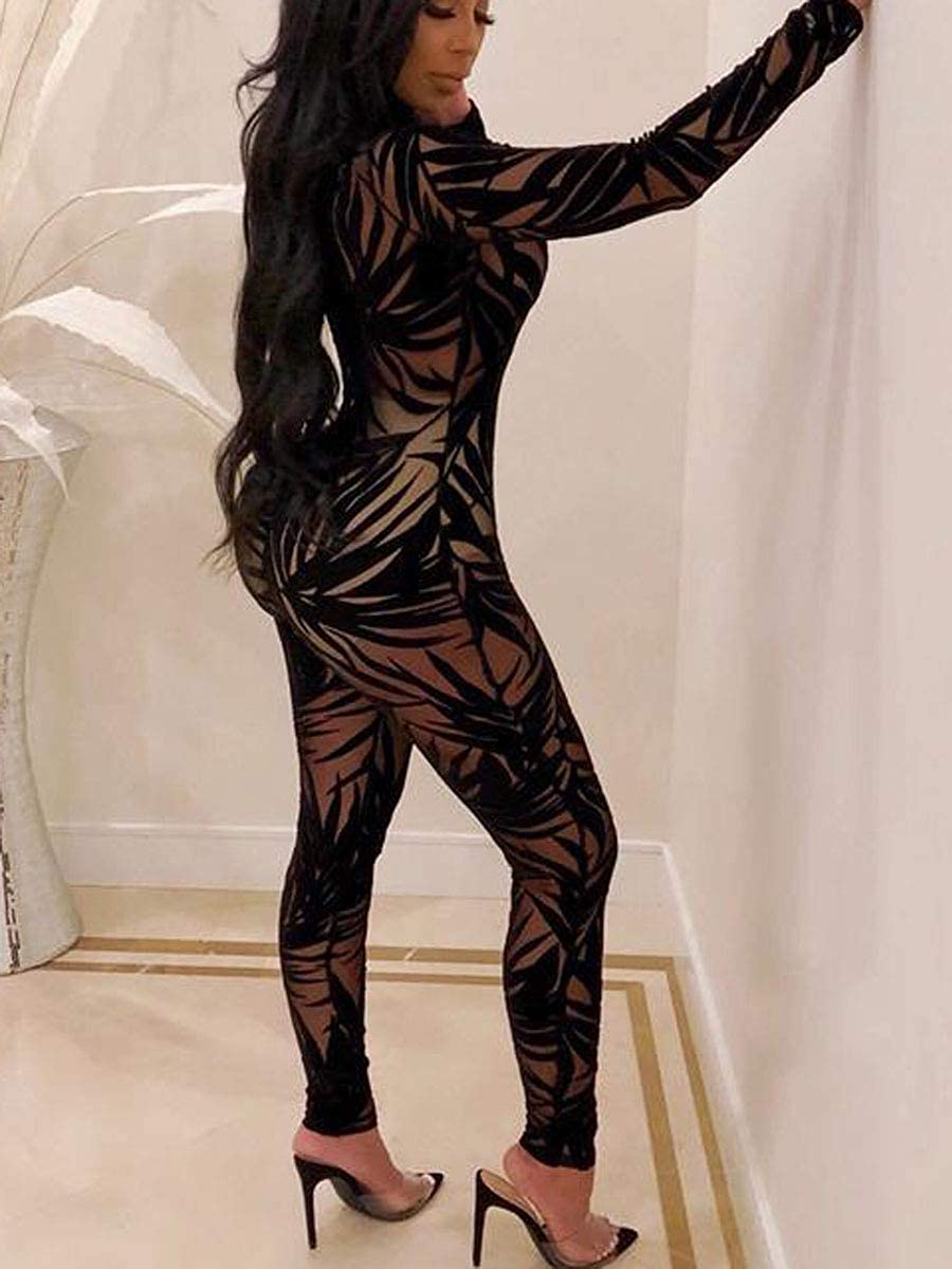 Uni Clau Women See Through Bodycon Jumpsuit - One Piece Deep V Neck Outfits Sheer Mesh Leopard Clubwear Jumpsuit Rompers