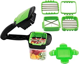 ASCENDAS Vegetables Cutter, 5 In 1 Fruits Cutter Chopper Slicer Column Egg Cutter Crusher Perfect for Kitchen Cooking Xmas New Year Dinner Party (Green) Suitable for Soft food