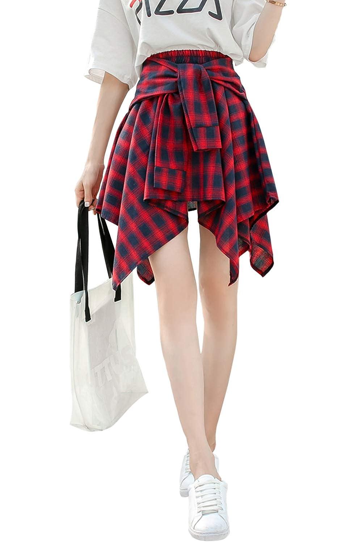 (アッシュランゲル)ASHERANGEL チェックシャツ腰巻風スカート付レギンス レギパン スパッツ