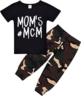 Mother's Day Outfits Newborn Infant T-Shirt Tops + Camouflage Pants Baby Boy Letter Clothes Summer