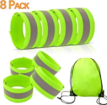 8 Bands of Reflective Bands for Wrist, High Visibility Reflective Running Accessories, Runners Belt Reflector Tape for Men and Women, Reflective Running Gear for Night Running Cycling Walking