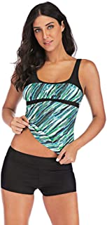 Women Plus Size Tankini Sets,Jchen Ladies Swimsuit Striped Print Patchwork Tankini Tops with Shorts 2 Piece Bathing Suit