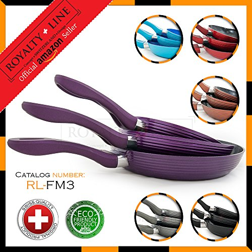 Royalty Line PURPLE 3 Forged Aluminium Frying Pan Set with Non-Stick Marble Coat