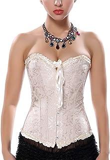 Women's Vintage Lace Up Boned Overbust Corset Bustier Bodyshaper Top - Size 3XL (Apricot)