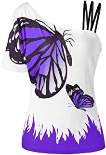 〓COOlCCI〓Women Summer Butterfly_Printing One Shoulder Strappy Cold Shoulder T-Shirt Cold Shoulder Casual Tops Blouse