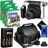 Fujifilm INSTAX 300 Wide-Format Instant Photo Film Camera (Black/Silver) + Fujifilm instax Wide Instant Film, Twin Pack (60 Sheets) + 4 AA High Capacity Rechargeable Batteries with Battery Charger +