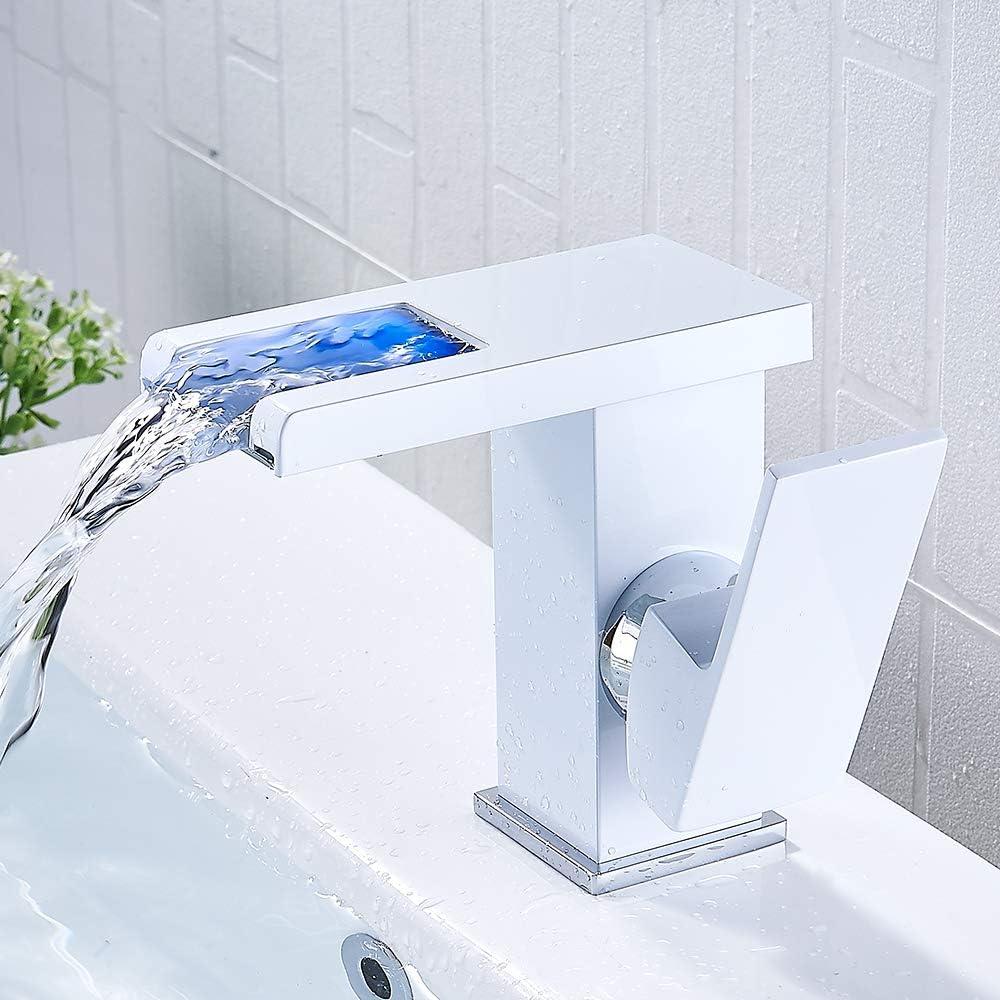 Grifo Lavabo Cascada, Grifo Moderno Baño con Luz LED, Mezclador de Baño Monomando Griferia Agua Fría y Agua Caliente, Adecuado Para Baño, Inodoro (Incluidos Accesorios) (blanco)