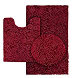 HOMEIDEAS 3 Pieces Burgundy Bathroom Rugs Set, Ultra Soft Non Slip Bath Rug and Absorbent Chenille Bath Mat, Includes U-Shaped Contour Rug, Bath Mat and Toilet Lid Cover, Perfect for Bathroom, Tub