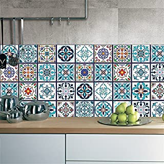 AMAZING WALL Vintage Arabic Style Tiles Sticker Wall Art Mural Decor Living Room Bedroom Kitchen Decals 39.37x7.87 5 Pcs/Set