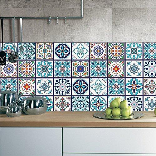AmazingWall Vintage Arabisch Style Fliesen Aufkleber Art Wand Wandbild Decor Wohnzimmer Schlafzimmer Küche Aufkleber 100x 20cm 5Pcs/Set Cz006