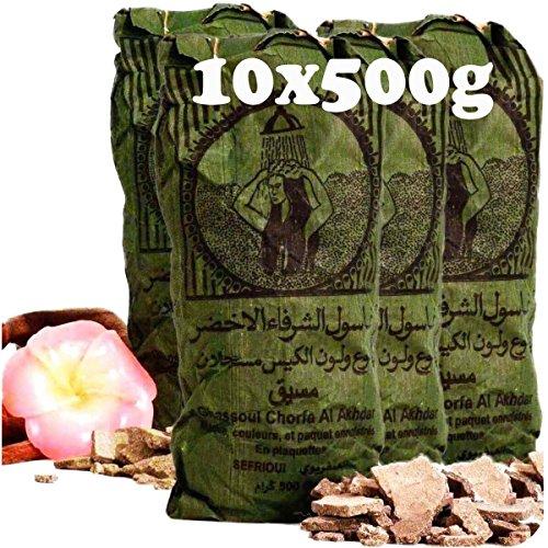 Original Ghassoul Wascherde – Bio Lavaerde aus Marokko für die natürliche Reinigung und Pflege von Haut und Haar und als Gesichtsmaske 10 x 500g