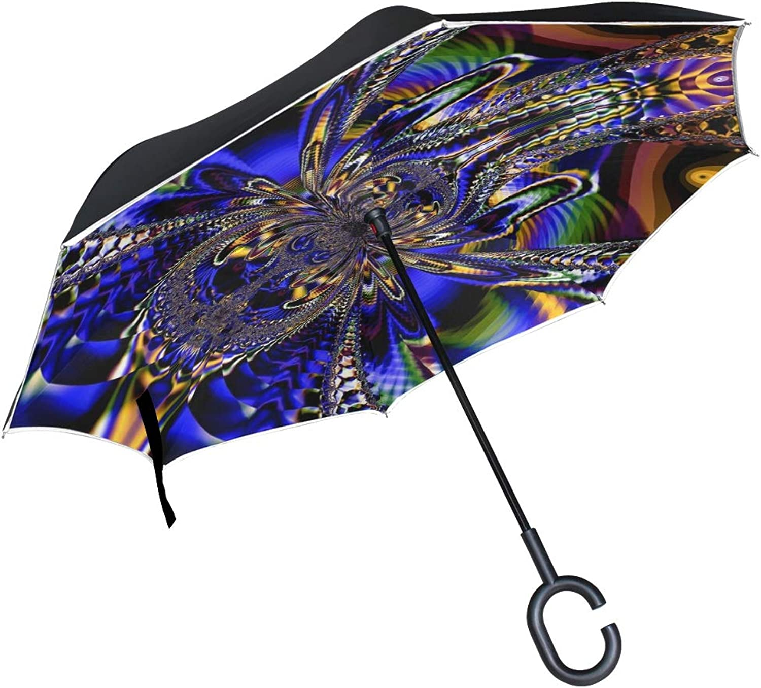 Double Layer Ingreened Fractal Artwork Art Abstract Design Ornamental 1501582 Umbrellas Reverse Folding Umbrella Windproof Uv Predection Big Straight Umbrella for Car Rain Outdoor with CShaped Handle