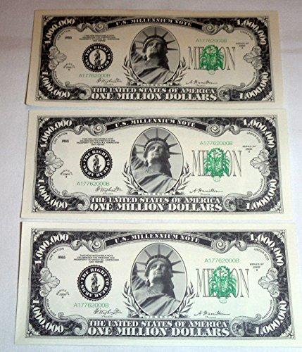One Million Dollar Bills, Lot of 3 Bills, Look and Feel Real (1925)