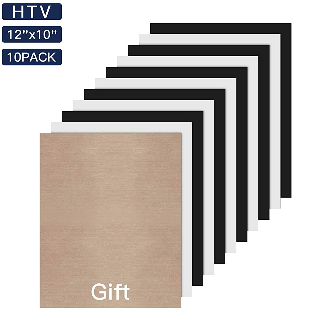 JANDJPACKAGING Heat Transfer Vinyl HTV Bundle - 5 White and 5 Black 12