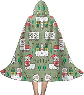 Holidays Christmas Llamas On Green Olive Wallpaper Kids Hooded Cloak Cape for Christmas Halloween Cosplay Costumes