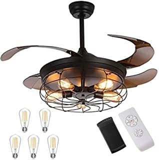 Ventilateur de plafond industriel rétractable LEDMO avec lampe - 42 pouces avec 5 ampoules LED, 4 modes de synchronisatio...