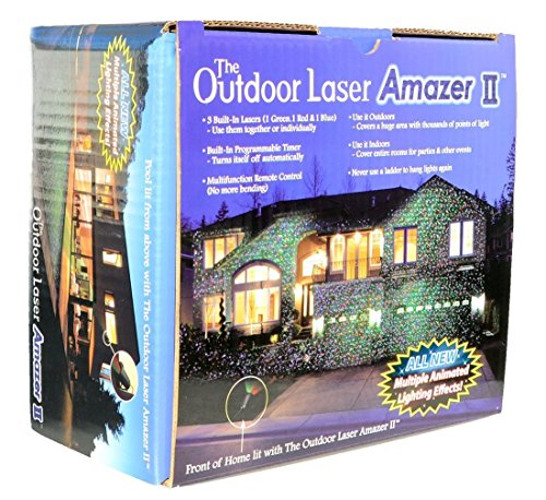 Moving BLUE, GREEN, RED - 3 Color Laser Landscape Projector Light w/ Remote, Landscaping Decoration, Pool Areas. Holiday Lighting, Christmas Lights. Outdoor Laser Amazer II tm