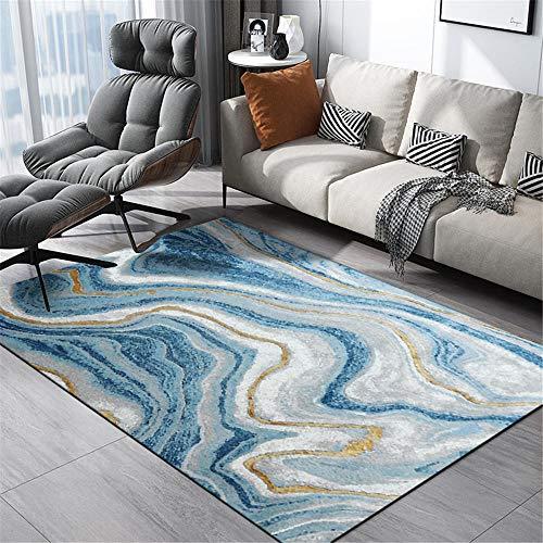 WQ-BBB Alfombra Pelo Corto minimalismo Dormitorios Alfombraes Patrón de Onda diseño Abstracto Alfombra Infantil Azul Gris Blanco marrón Hermosa La Alfombrae 120X160cm