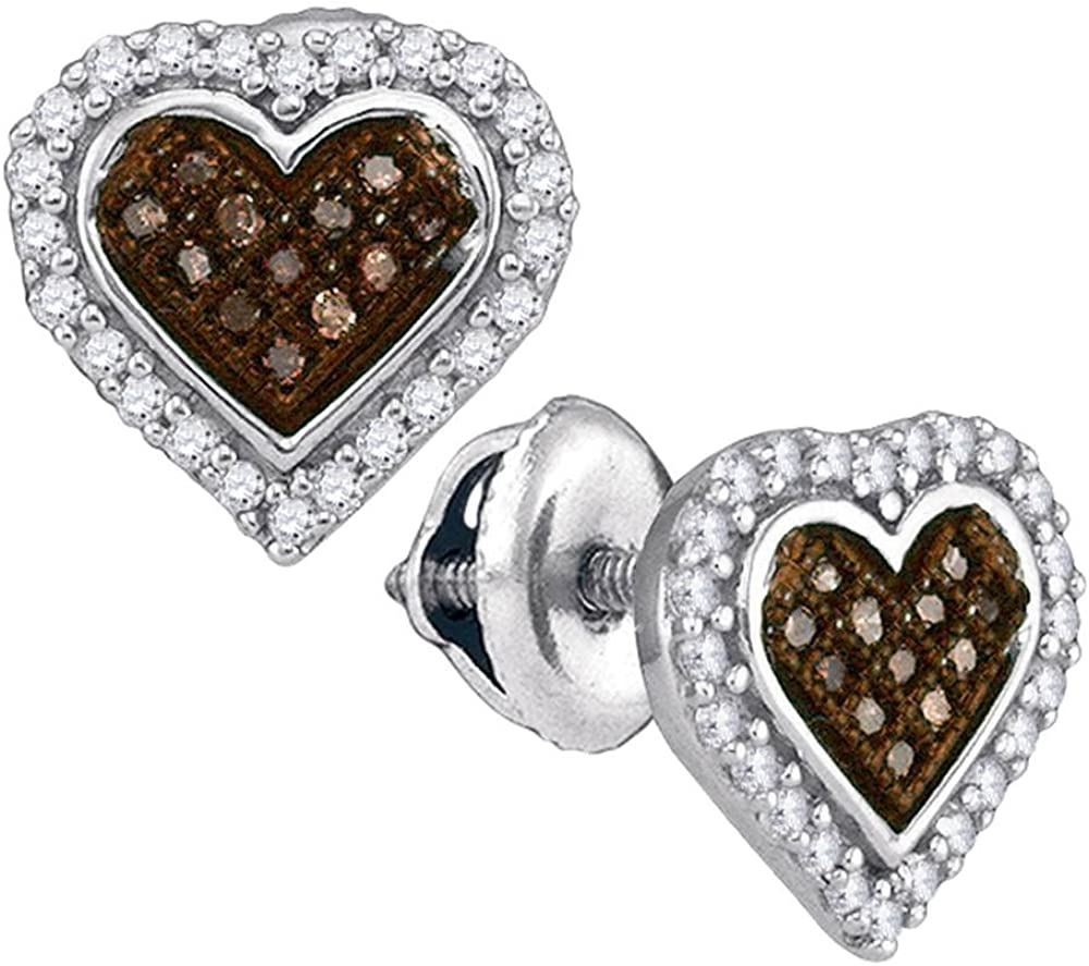 10K Fixed price for sale White Gold Selling rankings Heart Shape Halo Set Chocolate B Studs Pave Micro