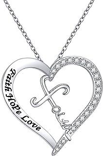 قلادة قلادة من الفضة الاسترلينية 925 عليها صليب الحب والإيمان هدية دينية للنساء والفتيات والرجال، 45.72 سم