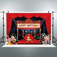 iyidecor Hollywood Party Backdrop Happy Birthday Film Photography Background Marquee Red Magic Carpet 7x5 FeetDecoration Celebration Props Party Photo Shoot Vinyl Cloth