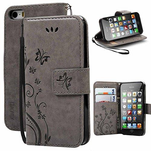KUAWEI Custodia iPhone SE Cover iPhone 5S Custodia Flip Cover Wallet Case Cover per iPhone 5 SE 5S (Grigio)